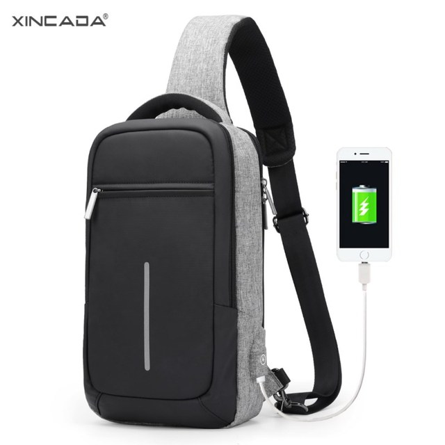 XINCADA Crossbody Bags for Men Chest Pack Water Repellent Male Messenger Bag USB Charging Casual Shoulder Sling Bag