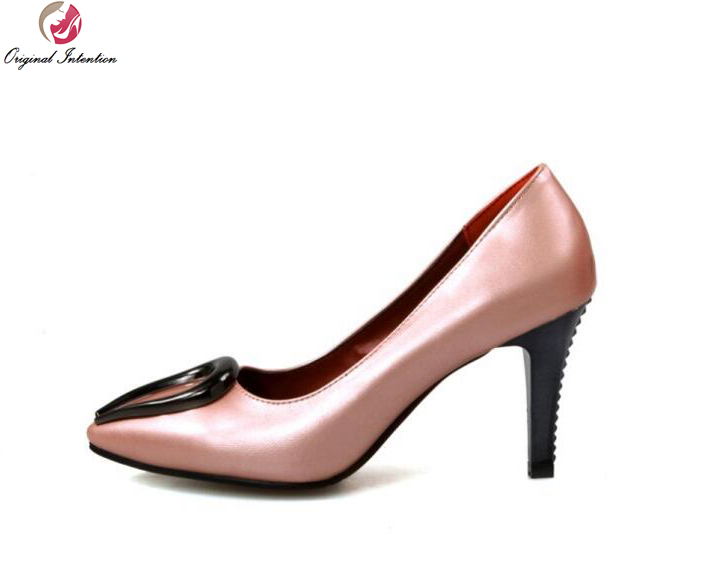 Original Intention Fashion Women Pumps Pointed Toe Spike Heels Pumps High-quality Patent Leather Shoes Woman Plus US Size 4-16 new 2017 spring summer women shoes pointed toe high quality brand fashion womens flats ladies plus size 41 sweet flock t179