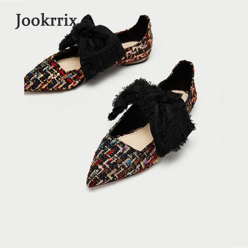 Jookrrix 2018 Spring Girl Fashion Brand Classic Shoes Women Retro Pointed Toe Shoe Lady Chic Flats Bow Shoes All Match Female