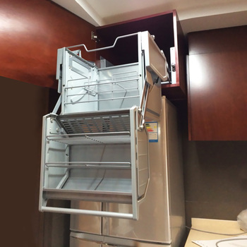 Armadio Da Cucina Manuale Doppio Corpo Di Stoccaggio Di Sollevamento Cesto Appeso Mensola Dell'armadio Collegamento Ascensore