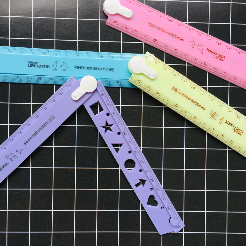 1X Candy 30cm Rotate Fold Measuring Straight Ruler Drawing Stationery