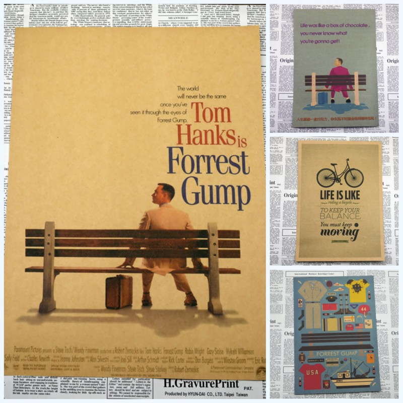 Forrest Gump Tom Hanks Self-Improvement Home Furnishing decoration Kraft Movie Poster Drawing core Wall stickers/1009 image