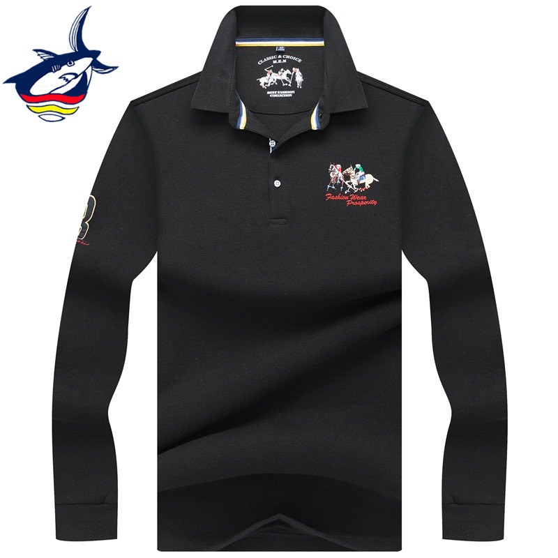 2019 New Fashion Tace & Shark men   polo   shirt brand high quality cotton lapel 3D embroidery solid color   polos   shirts para hombre