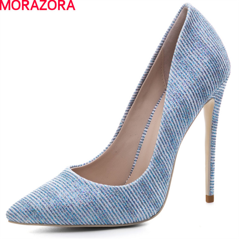 MORAZORA women fashion spring autumn pumps solid simple Shallow mouth shoes hot sale pointed toe woman high heels big size 34-45 koovan women pumps high heels 2017 spring autumn tide diamond tip fine single shoes satin pearl shallow mouth women sandals