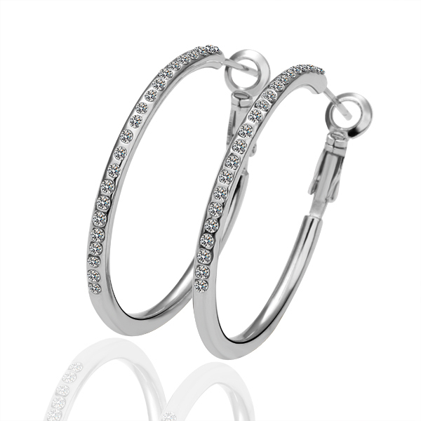 NICETER White Gold Plated Miro CZ Pave Hoop Circle Earrings 1Pc Free Shipping Fashion Women Accessories Pendientes