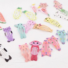цена 50pcs Cute Baby Hair Clips for Hair Styling Accessories BB Snap Hair Clips Candy Color Barrettes for Kids Children