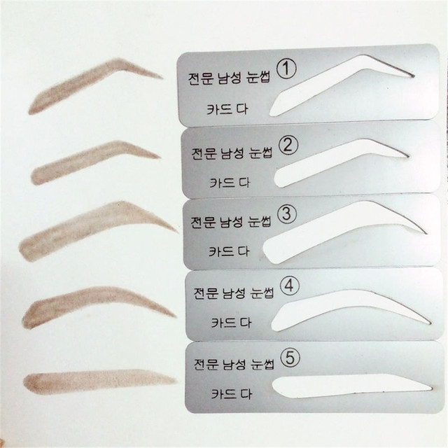 Men 5 Styles Brow Drawing Guide Eyebrow Template Make Up Tools Grooming Stencil Eyebrow Thrush Card High Quality 1