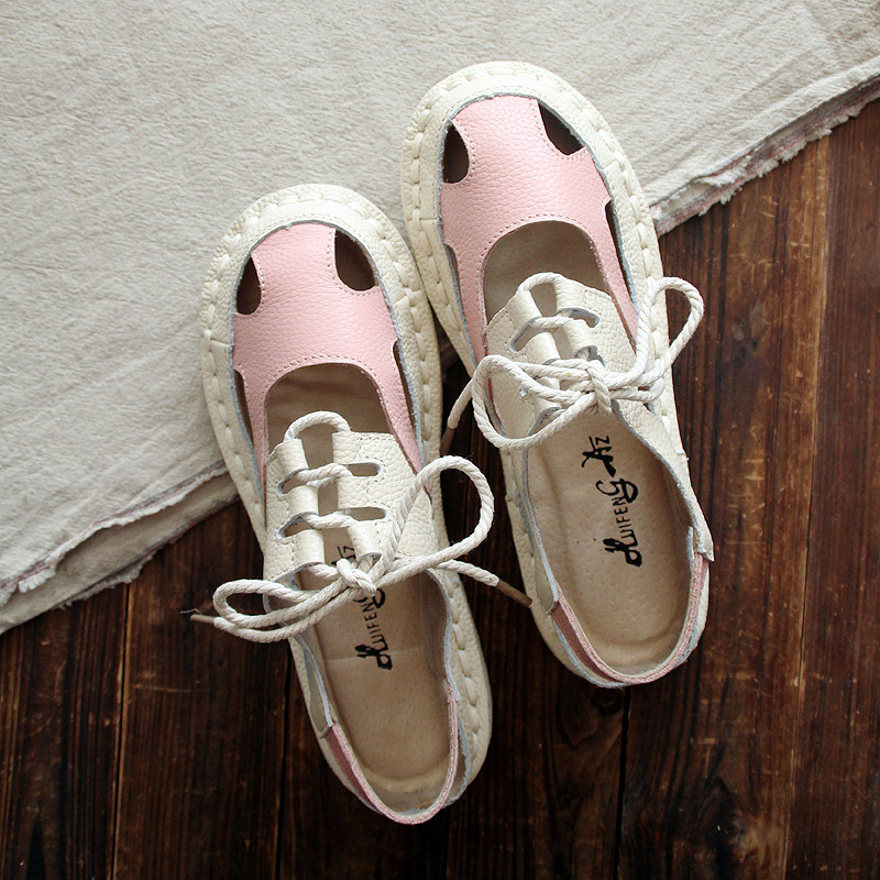 HUIFENGAZURRCS-Real Leather summer lace forest literature antique original handmade Harajuku flat shoes, super soft women's shoe
