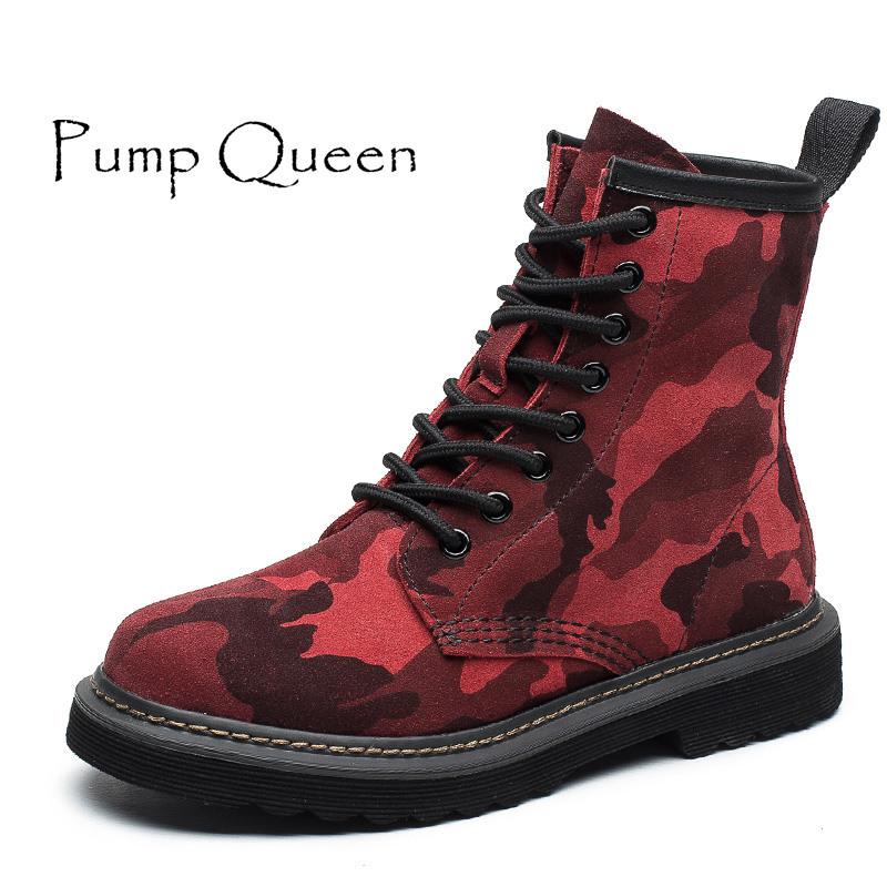 Camouflage Martin Boots Red Women Shoes For Woman Genuine Leather Female Motorcycle Boots Lace Up 2018 Spring Autumn Round Toe front lace up casual ankle boots autumn vintage brown new booties flat genuine leather suede shoes round toe fall female fashion