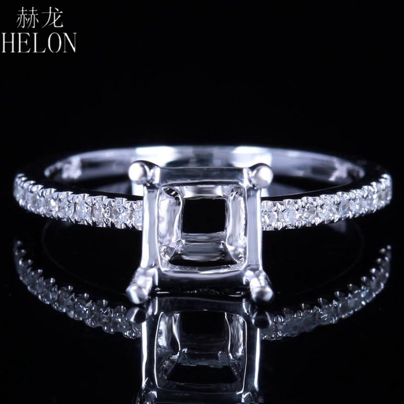 HELON x6mm 7 5x7 5mm Cushion Cut Semi Mount Solid 14K White Gold Engagement Wedding Natural