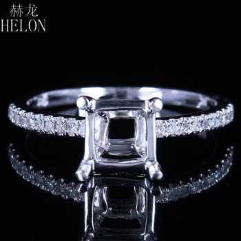 HELON x6mm-7.5x7.5mm Cushion Cut Semi-Mount Solid 14K White Gold Engagement Wedding Natural Diamonds Ring Women Fine Jewelry - DISCOUNT ITEM  13% OFF All Category