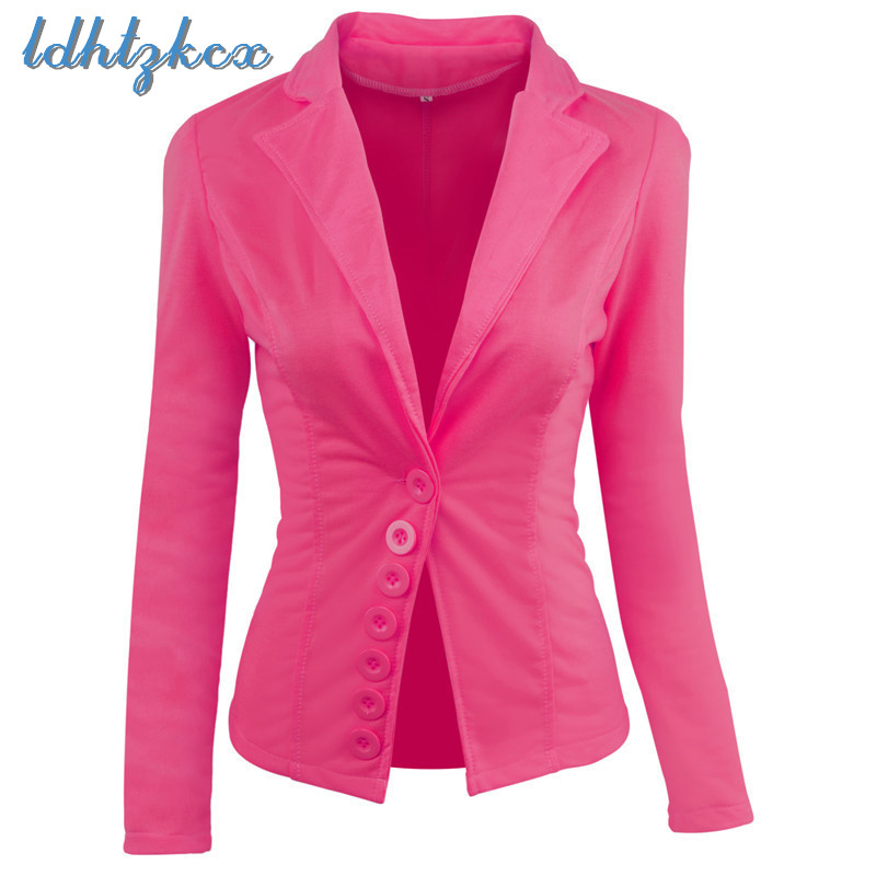 Solid Long Sleeve Short Section Blazers Female 2018 Spring autumn New Office Lady Single breasted Rose Red Casual Slim Suit L240