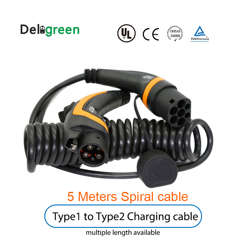 J1772 Type 1 to Type 2 IEC62196 16A 32A for EV Charging station With Spiral Cable 5 Meter TUV/UL Single phase  グループ上の 家電製品 からの 充電器 の中 1