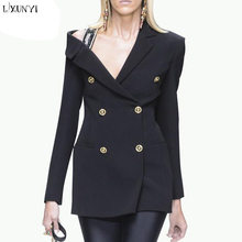 bad409b50ebe LXUNYI Double Breasted Blazer Women Sexy Off Shoulder Slim Black Ladies Suit  jacket OL Formal Suit For Work Woman Spring Coats