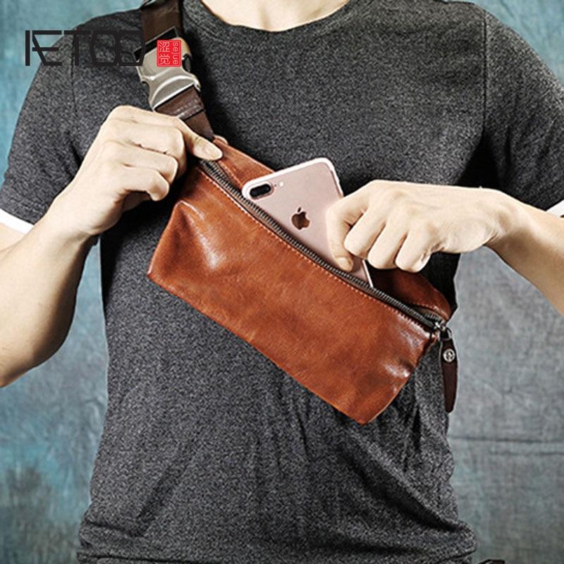 AETOO Original retro handmade suede leather men s chest bag purse mini casual Messenger bag youth