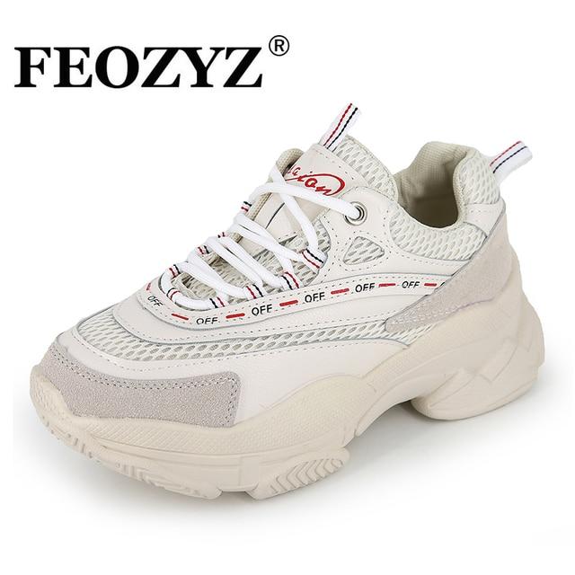 FEIOZ 2019 Nova Chunky Sapatilhas Mulheres Malha Respirável Running Shoes Mulher Sapatos de Sola Grossa Pai Zapatillas Mujer Deportiva
