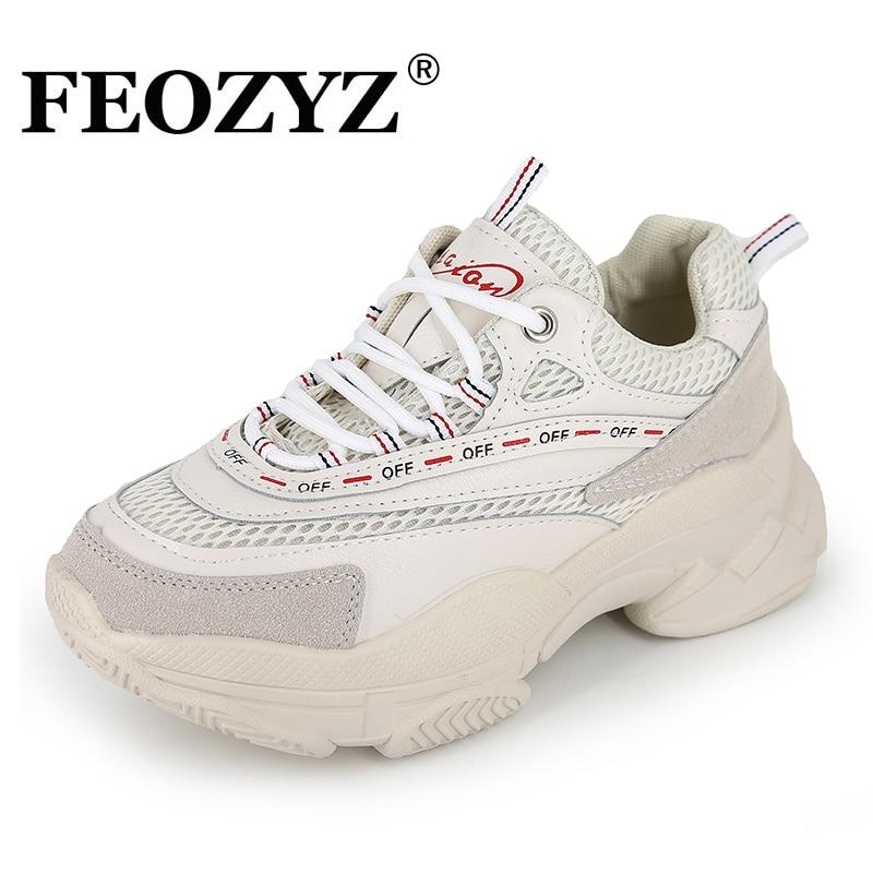 FEOZYZ 2019 nuevas Zapatillas gruesas de Mujer de malla transpirable zapatos para correr Mujer suela gruesa papá zapatos Zapatillas Mujer Deportiva