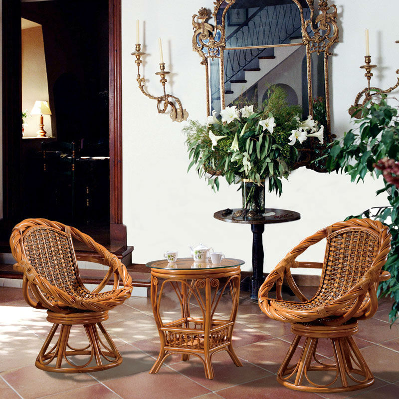 Cane rattan swivel tea table set,wooden round coffee table and ...
