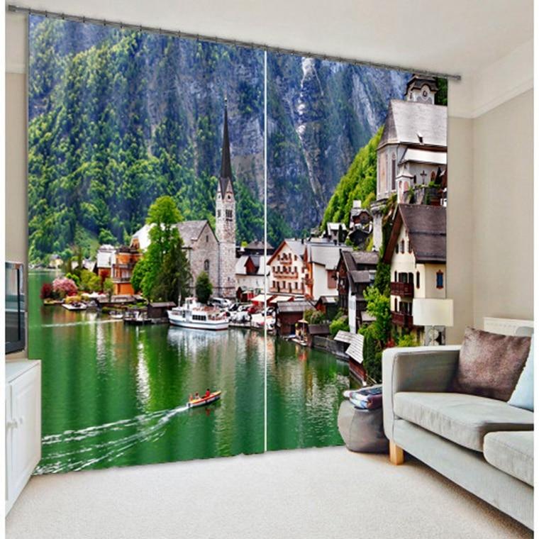 Landscape garden photo print 3d printed curtains shade fabric