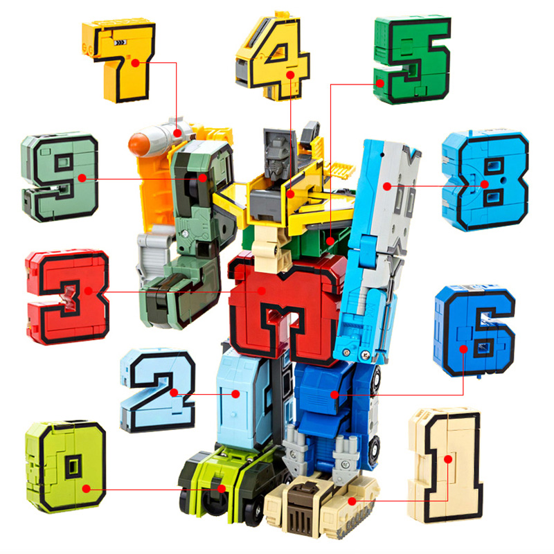 Digital DIY Building Blocks Assembly Deformation Robot Building Blocks Math Letters Toy Montessori Educational Toys for Children xizai connection blocks cartoon building toy big size kitty assembly educational intelligence blocks melody for children gift