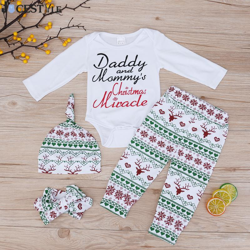 JOCESTYLE Baby Christmas Outfit Long Sleeve Print Romper + Deer Snow Pants + Hat + Headwear 3pcs Outfits Baby Clothing Set