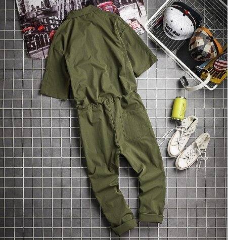Una Herramientas Pantalones army Verano Hombre Green D91302 Los Babero De Baile Pieza Black Hombres Hip Hop khaki Monos rv7Zr