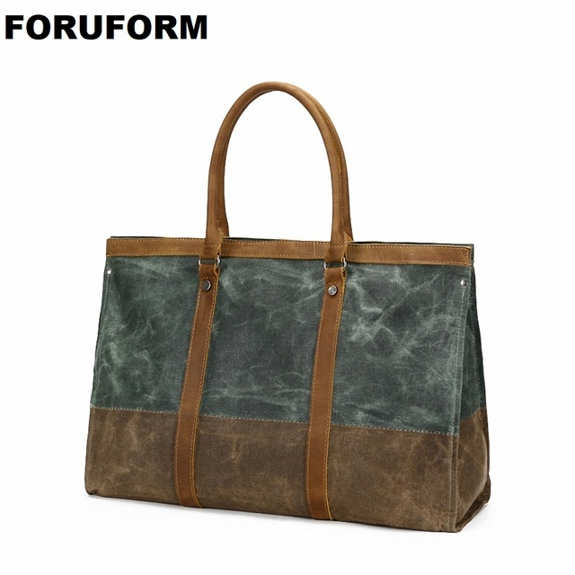 Waterproof Canvas Leather Men Travel Bag Carry On Luggage Bags Female  Duffle Bags Women Travel Tote Large Weekend Bag Overnight 1109ca7260436
