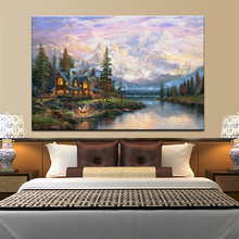 Cathedral Mountain Lodge by Thomas Kinkade, Abstract Landscape Posters Print on Canvas Wall Art Pictures for Living Room Decor
