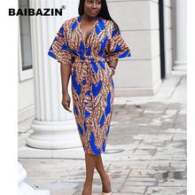 BAIBAZIN New Summer African Ethnic Fashion Print Explosion V-neck Long Skirt Strap Decoration
