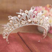 Magnífico neve rainha coroa tiaras casamento nupcial pérola folha cintilante noiva prom hairband diadem hairjewelry acessórios