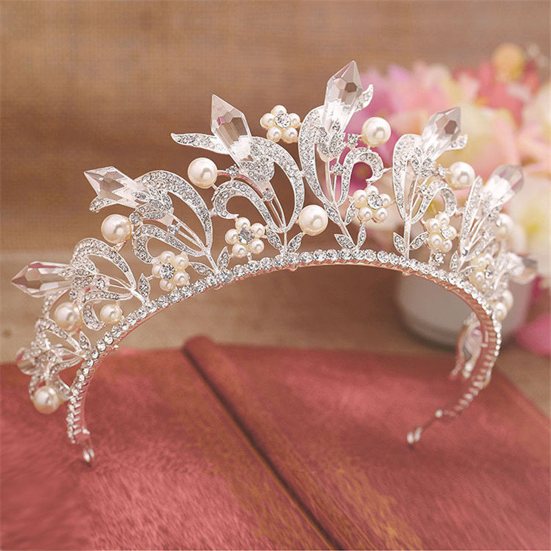 Magnificent Snow Queen Crown Tiaras Wedding Bridal Women Pearl Sparkling Leaf Bride Prom Hairband Diadem HairJewelry Accessories