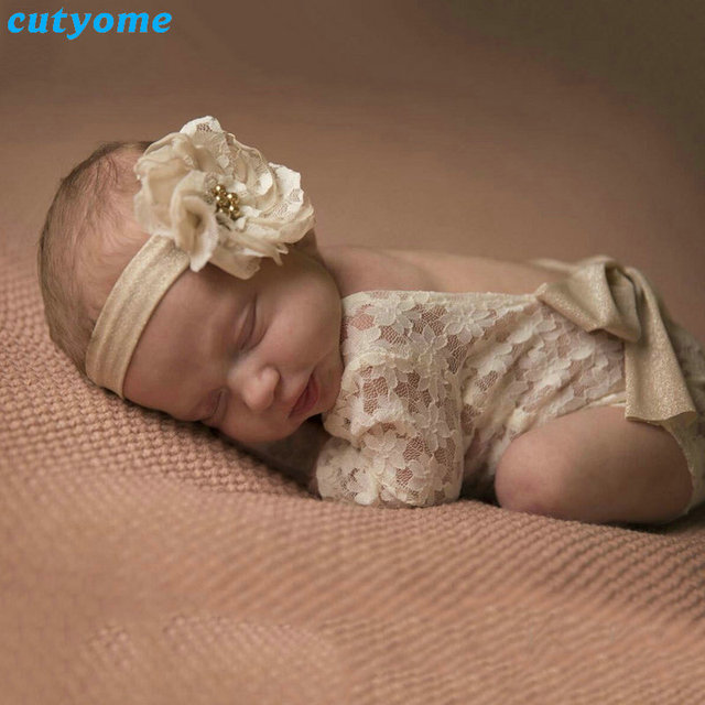 Cutyome newborn baby girls lace rompers white new born photography props clothes infant girl overalls backless