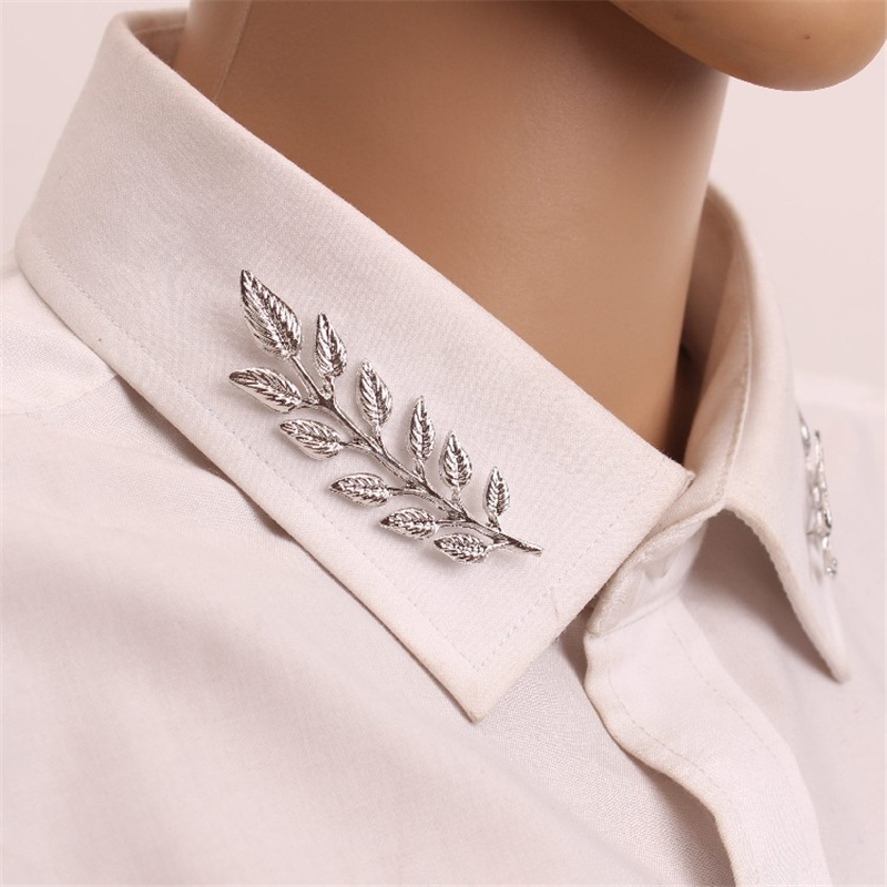 2 Pairs Retro Golden,silver Leaf Brooch Pin Buckle Apply To Shirt Suit Collar Clip Men And Women Clothing Decoration Ap2077 Highly Polished Ebay Motors