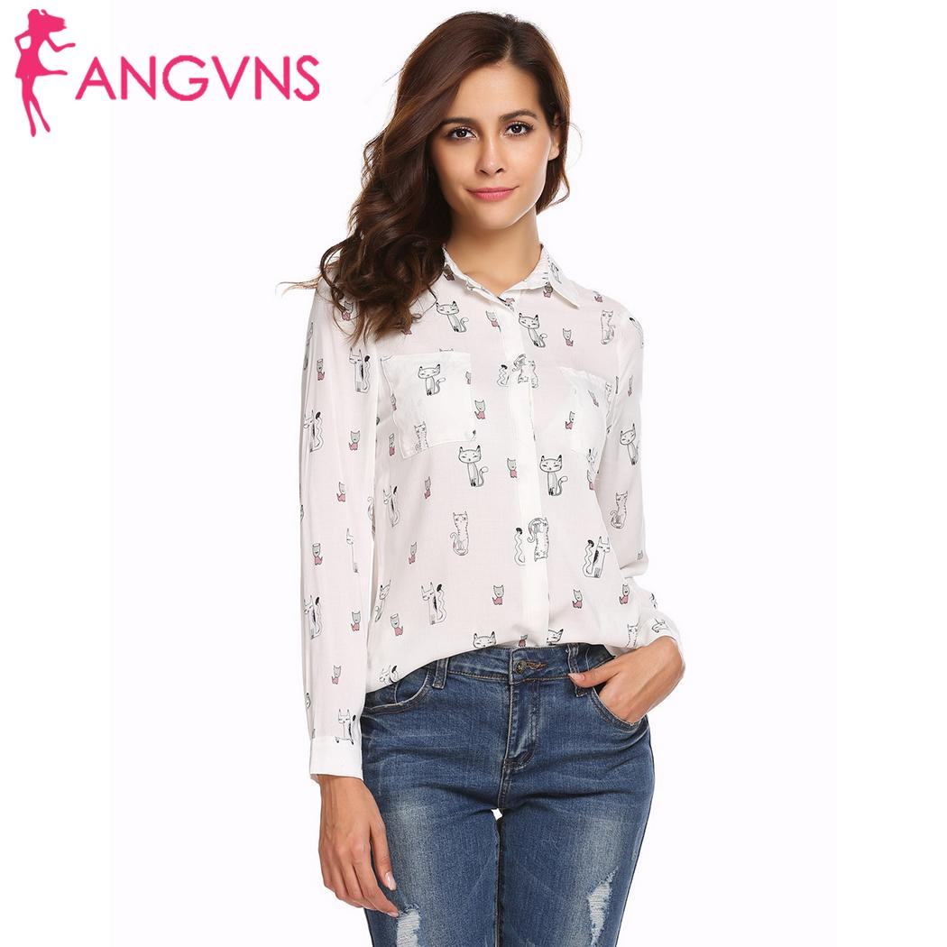 ANGVNS Women Autumn Chiffon   Blouse   Print Women's Long Sleeve   Blouse     Shirts   Lipstick Floral Ladies   Blouses   Fashion Blusas