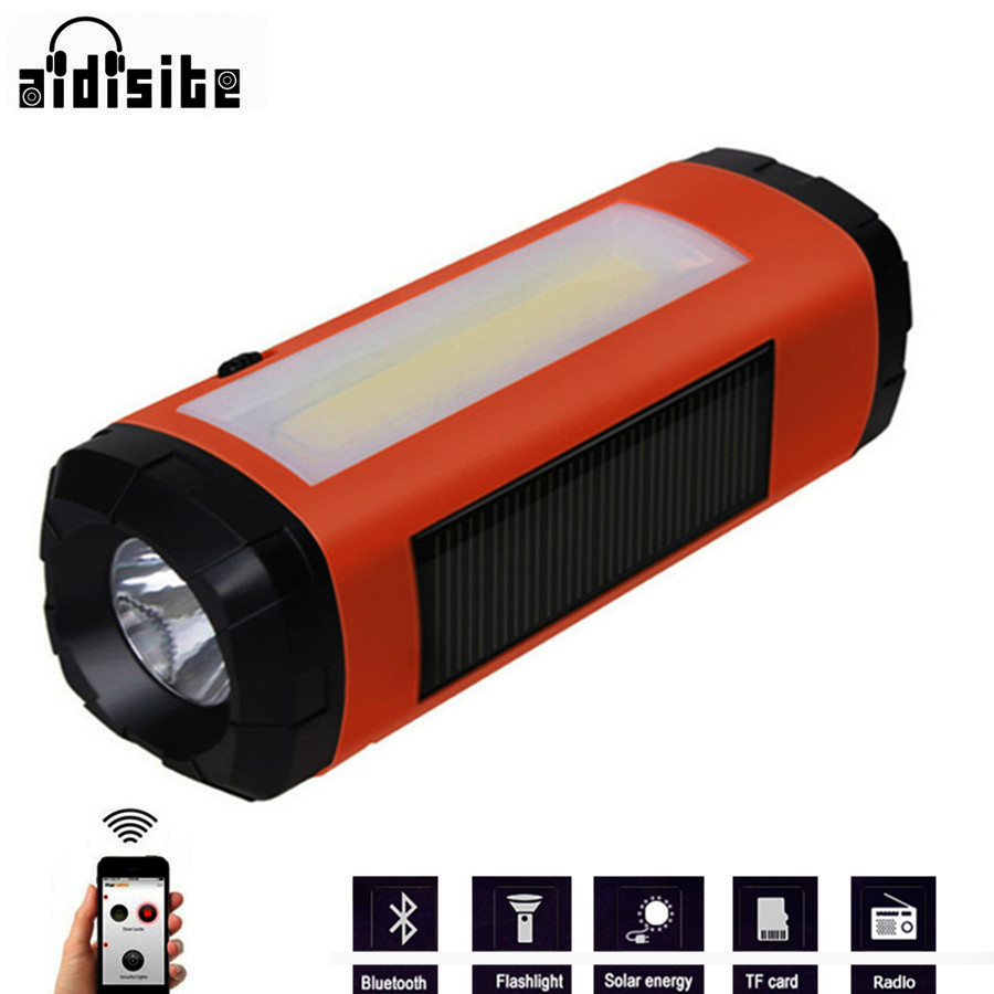 Aidisibe Solar Bluetooth Speaker Wireless LED Flashlight Portable Speaker Bluetooth Player Support Radio TF Card USB