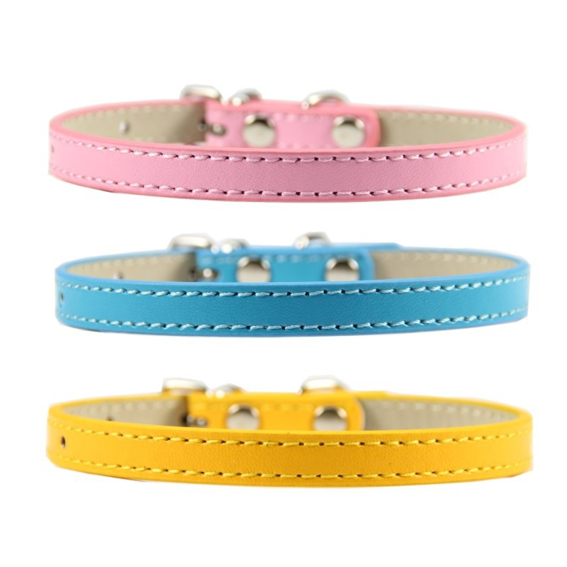 1 piece solid color dog collars PU leather colorful neck strap adjustable pet collar belt durable accessories