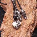 Diseño moda vintage breve corazón de la vid hombres mujeres amantes del collar del acero inoxidable de cera cuerda collar colgante