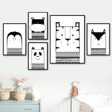 Panda Tiger Hippo Fox Wall Art Canvas Painting Nordic Posters And Prints Black White Animals Baby Pictures Kids Room
