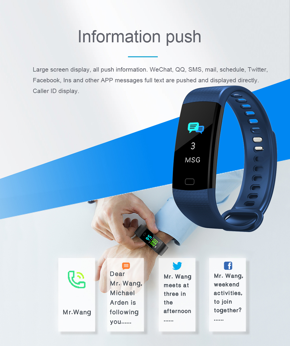 HTB1vdycgH1YBuNjSszhq6AUsFXah TimeOwner Smart Band Heart Rate Blood Pressure Monitor High Brightness Colorful Screen Smart Bracelet Wristband Notification