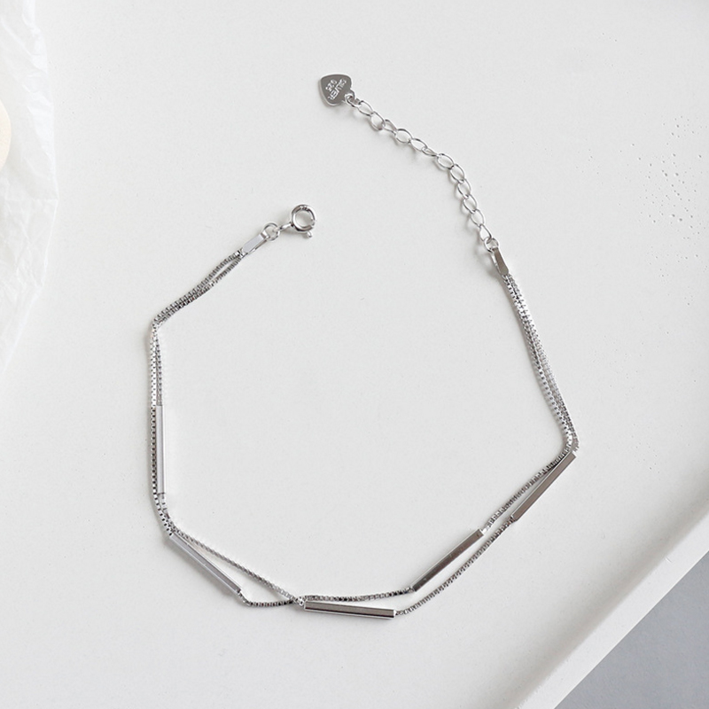 Hot Fashion 925 Sterling Silver Anklet Bracelet For Women Tube Box Chian Ankle Bracelet Jewelry