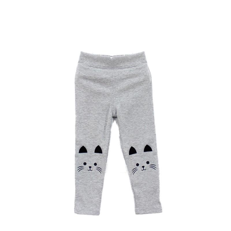 1 предмет, милые обтягивающие штаны для маленьких девочек, новые эластичные теплые леггинсы с принтом кота - Цвет: Серый