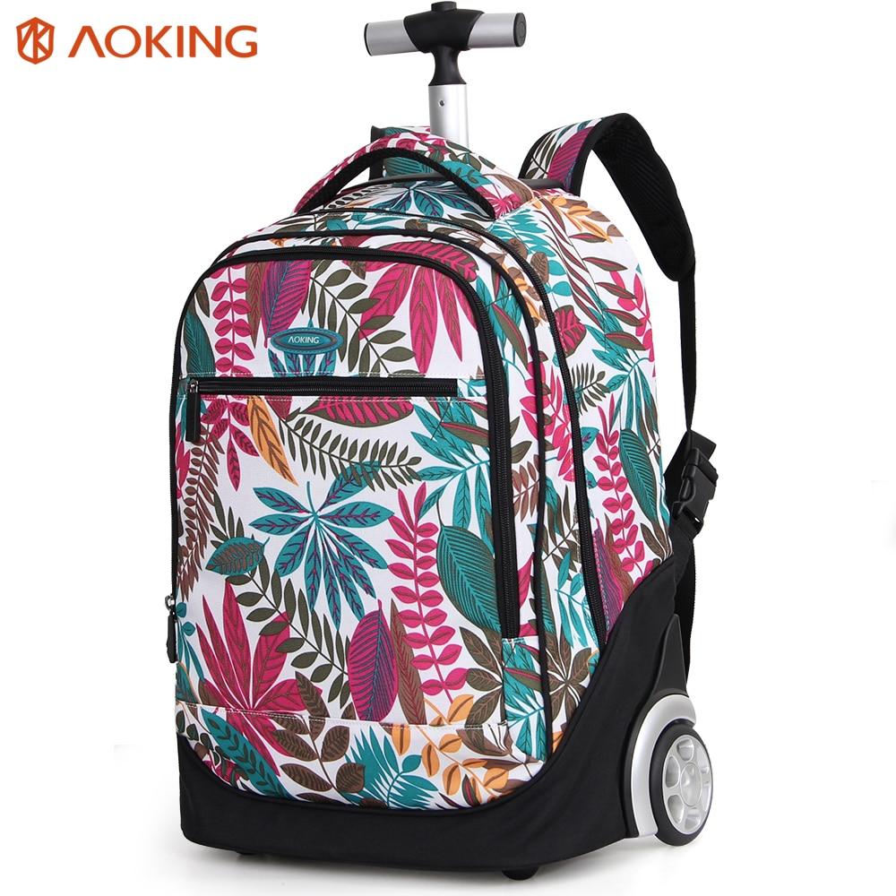 Aoking свежий колледж школы обувь для девочек рюкзак для тележки чемодан Красивые цветочные тележка подростка мода цветок сумки
