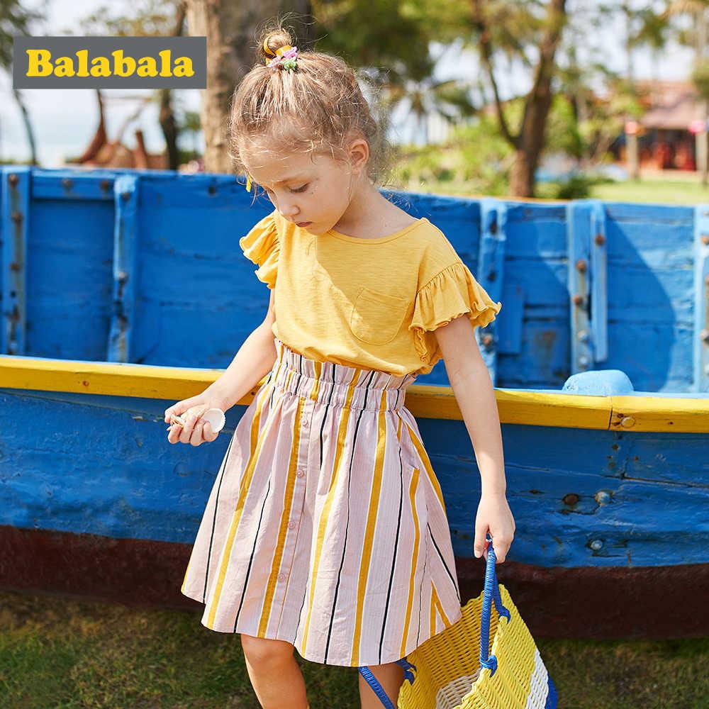 Balabala Roupas Meninas 2019 Marca Moda Verão Crianças Conjuntos de Roupas Sem Mangas Branco T-shirt + Saia 2Pcs Meninas terno
