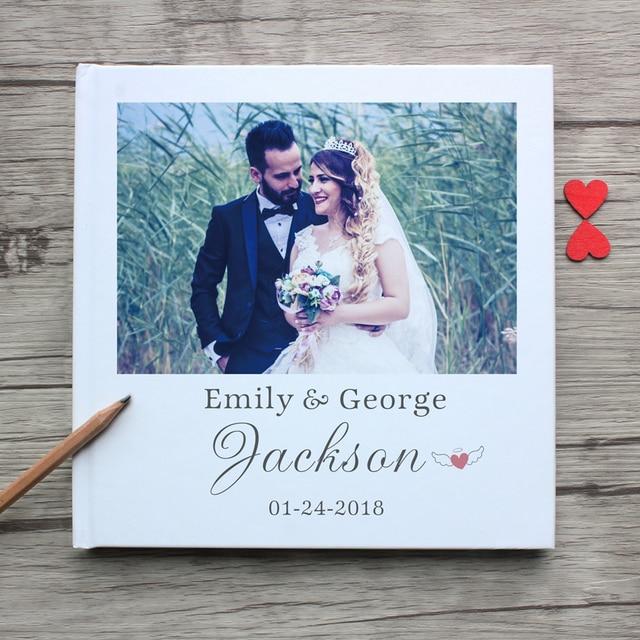 White Wedding Guest Book Alternatives Custom Unique Photo Album Personalized Guestbook Wedding Guest Book A4 Landscape Guestbook