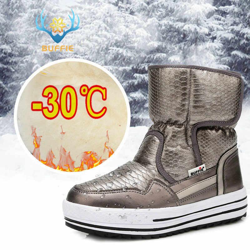 Женские водостойкие сапоги, с нескользящей подошвой и меховой подкладкой, зимние теплые ботинки, есть большие размеры