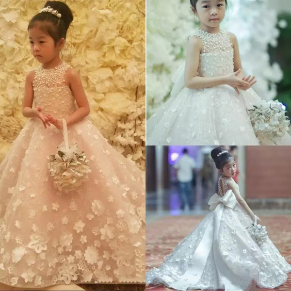 2019   Flower     Girls     Dresses   for Wedding Party Princess Pearls Beaded Bow Sleeveless 3D Floral Kids   Girl   Pageant Communion   Dress