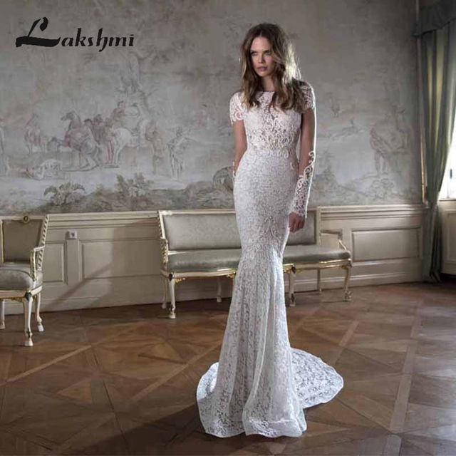 Elegant O Neck Long Sleeve Lace Mermaid Wedding Dresses Pearls Y Backless Berta Bridal Gowns