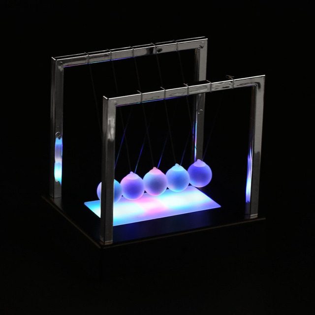 Newtons Cradle Led Light Up Kinetic Energy Science Home Toys Office Decor