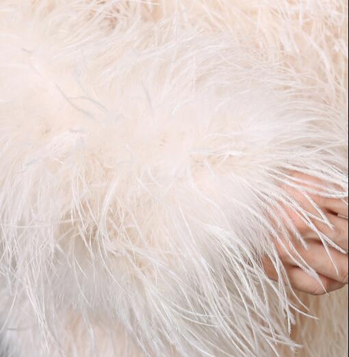 Manteau Autruche réglage Orange À Fourrure blanc Décontracté Australie Veste Manches gris Longues Laisser Plume D'hiver noir rose Importé D'autruche De qYZFww