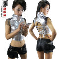 New Spring Summer fashion Jazz sleeveless Glossy Silver Black Top ds costume hip hop Sexy Bandage faux leather Dance Vest